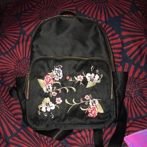 Black and Floral satin backpack bag purse